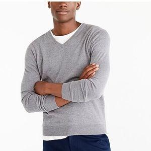J crew perfect merino wool vneck gray sweater